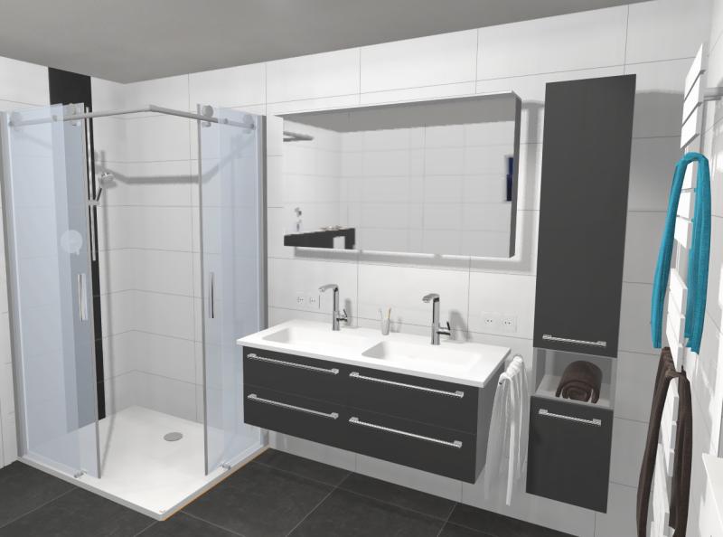 Badumbau Hengersberg 3D Planung Waschtisch und Dusche