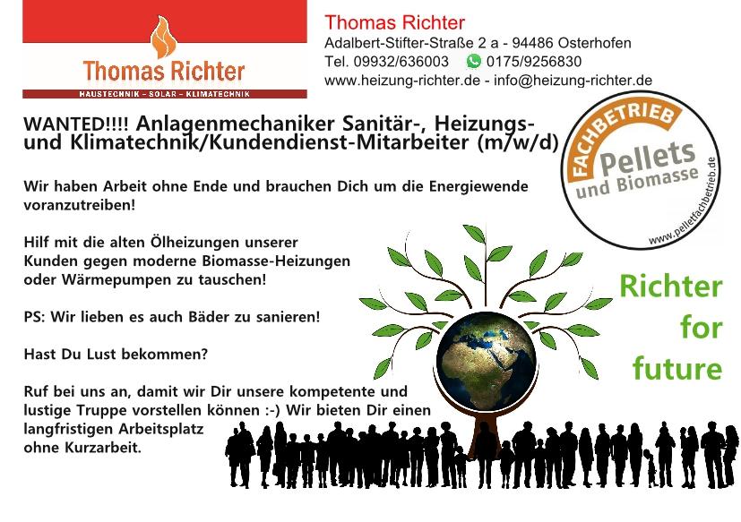 Anlagenmechaniker Sanitär-, Heizungs- und Klimatechnik in Osterhofen gesucht