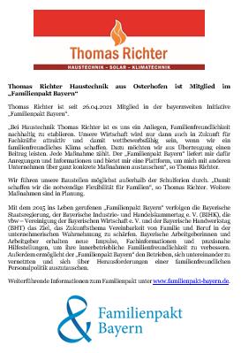 Familienpakt Bayern - Thomas Richter Osterhofen - Pressemitteilung - ein Herz für Familien